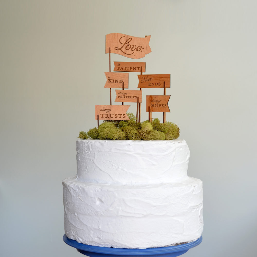 creative wedding cake toppers on Etsy Pinterest wood flags