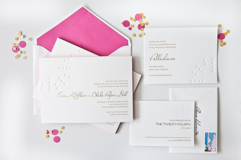 Pink And White Wedding Invitations PaperInvite