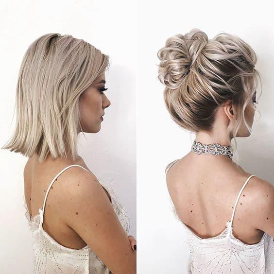 fryzura krótkie włosy kok wysoki