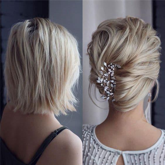 fryzura wesele krótkie włosy do ramion