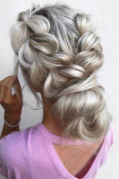 fryzury na wesele warkocz podwójny