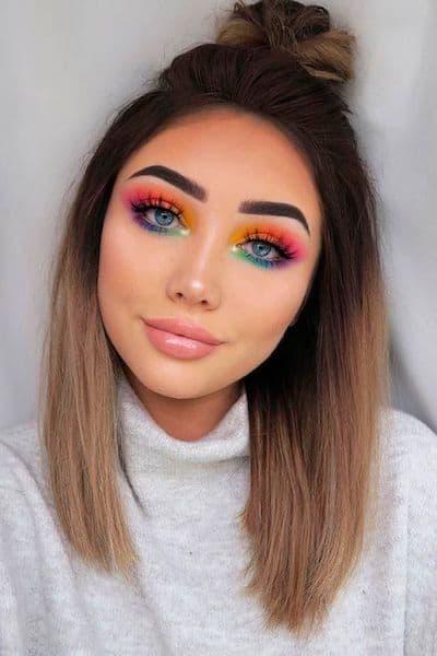makijaż przyjęcie kolorowy