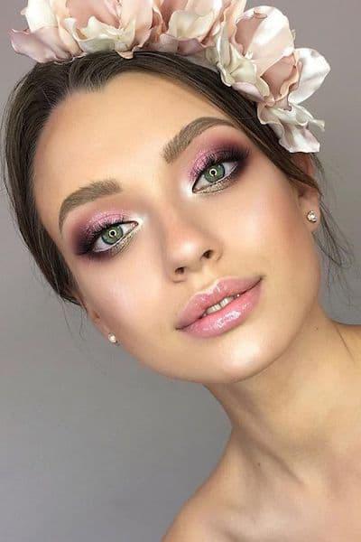 makijaż panna młoda zielone oczy róż
