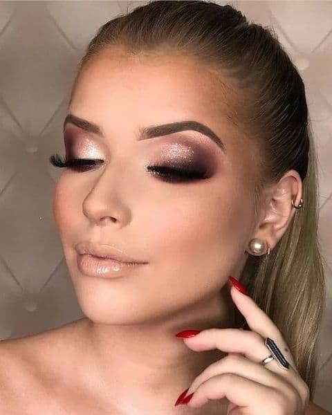 makijaż ślubny metaliczny rose gold