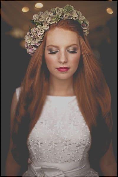 makijaż panna młoda typ jesień ruda czerwone usta