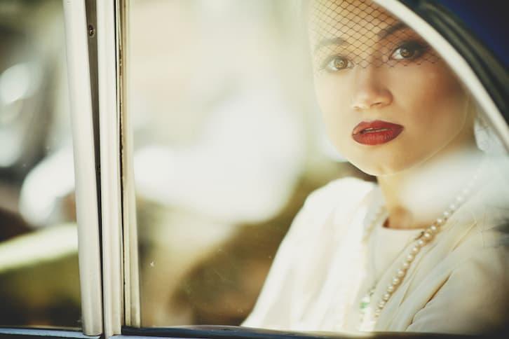 makijaż ślub vintage czerwone usta