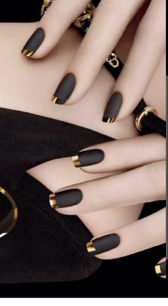 manicure wesele french czarny złoty