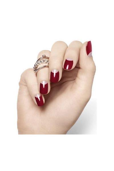 paznokcie half moon bordo czerwone wesele