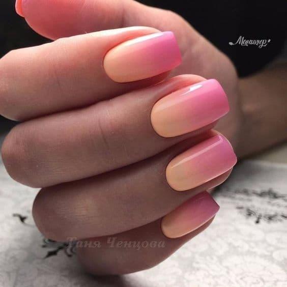 paznokcie na wesele ombre koral róż pomarańczowe