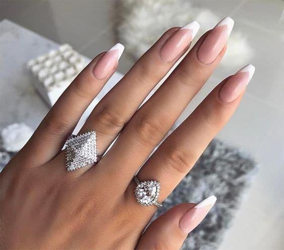 paznokcie ślubne french ballerina