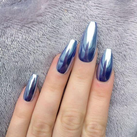 paznokcie ślubne lustrzane niebieskie