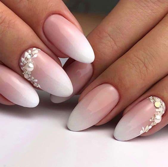 paznokcie ślubne ombre baby boomer kryształki