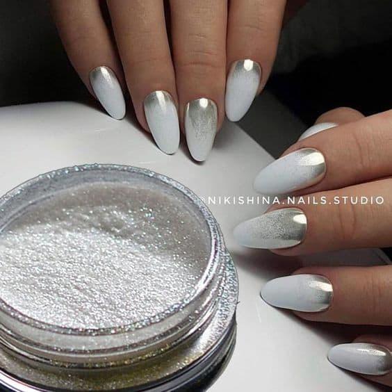 paznokcie ślubne srebrne białe