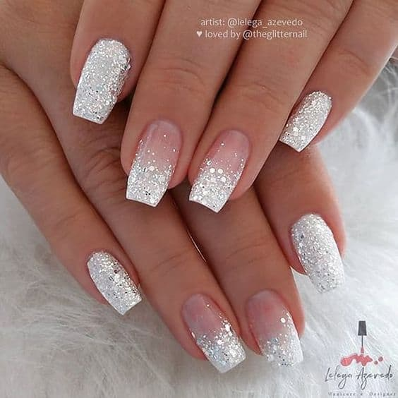 paznokcie ślubne srebrne french