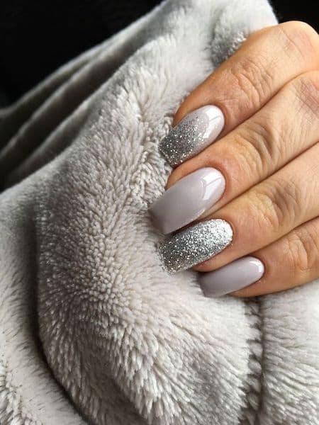 manicure ślubny srebrne ombre szare