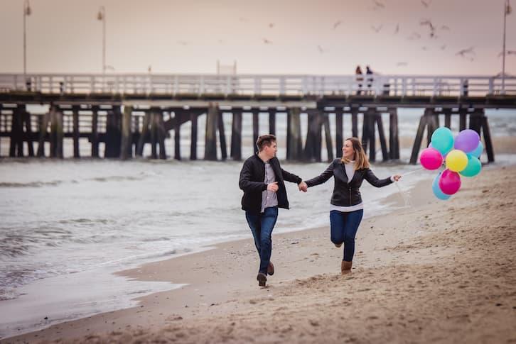 sesja para plaża zima