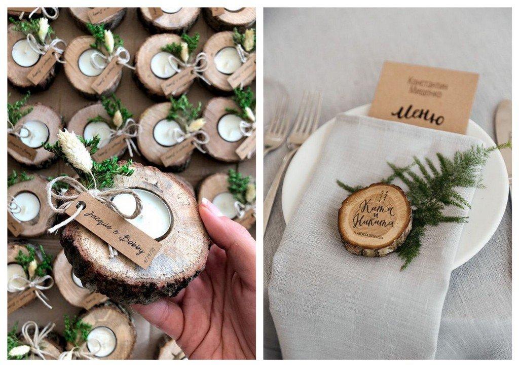 prezenty dla gości weselnych plastry drewna