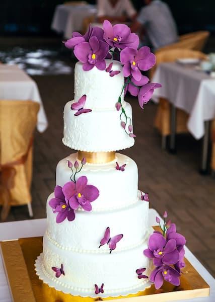 tort wesele orchidea fiolet