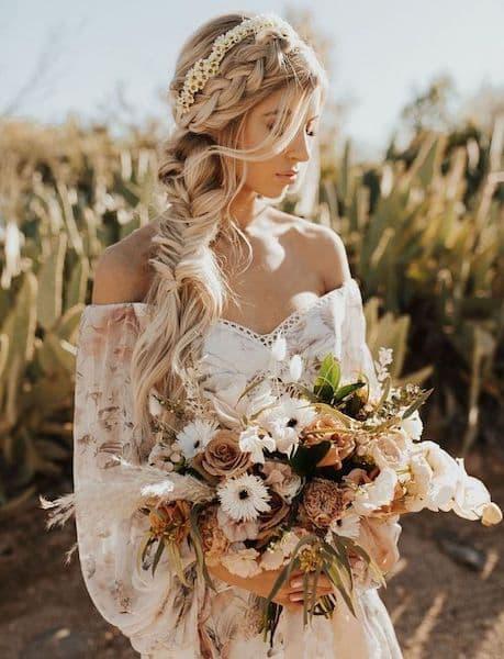 upięcia ślubne warkocz rustykalny boso