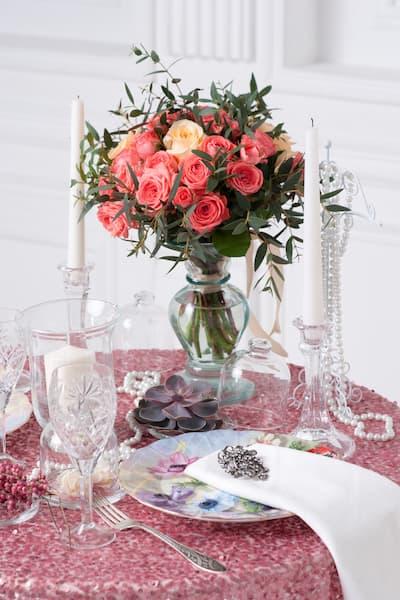 motyw wesela różowy brokat