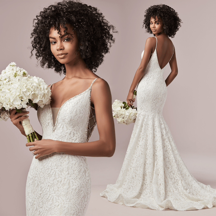 Rebecca Ingram wedding dress. Lucille is a delicate allover lace fit-and-flare wedding dress. Complete with beaded spaghetti straps, an illusion V-neckline, and V-back all lined with pearls, beads and Swarovski crystals. Front and back image of the wedding dress