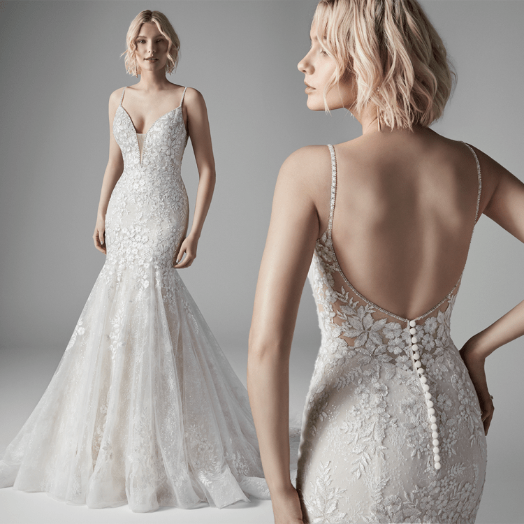 Sottero and Midgley Inga lace mermaid wedding dress with sparkle detail. Model images of the front and back
