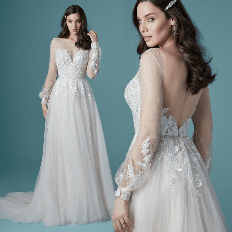 Maggie Sottero Pamela A-line wedding dress with illusion sleeves and lace bodice perfect for boho bridal style