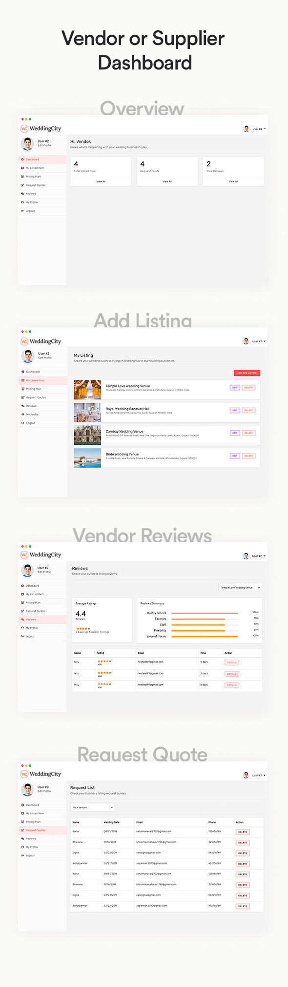 Wedding city - Directory & Listing WordPress Theme vendor dashboard