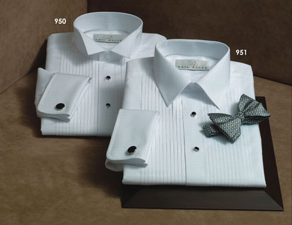 100% Cotton laydown collar tuxedo shirt: French cuffs