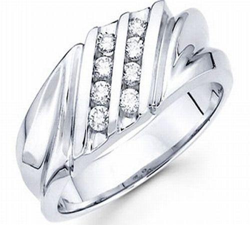 14K White Gold Round Diamond Channel