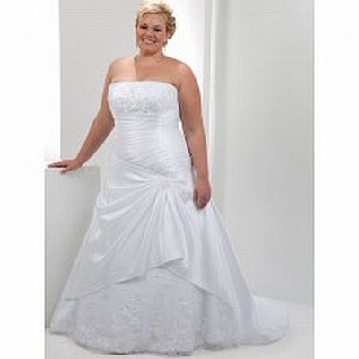 4.	Strapless plus size taffeta dress