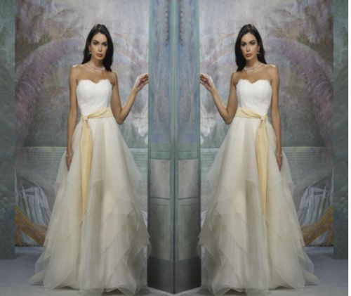 Beautiful sweetheart sash designer pregnant bridal gown
