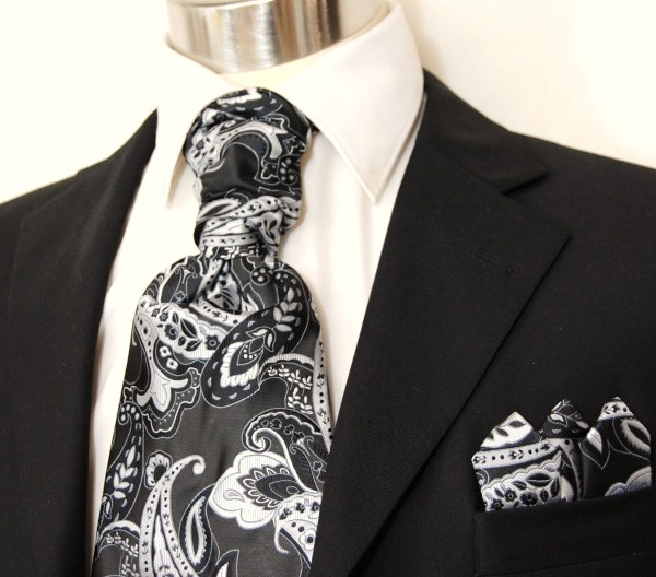 Black & White Paisley Ascot Tie Set