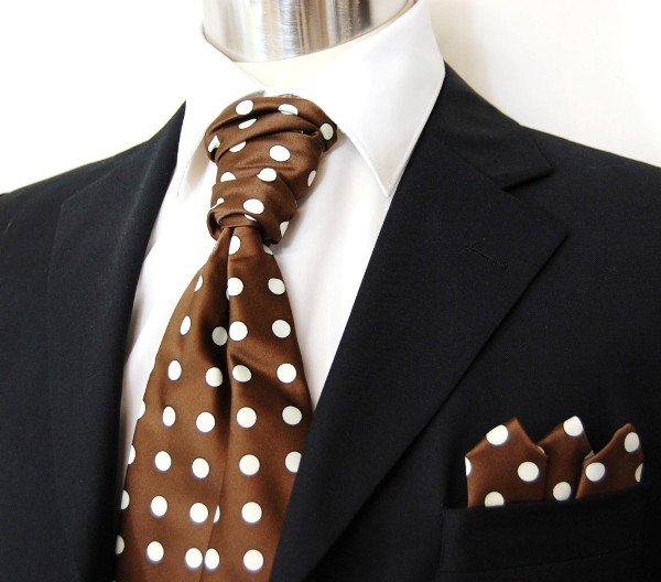 Brown & Cream Polka Dots Ascot Tie Set