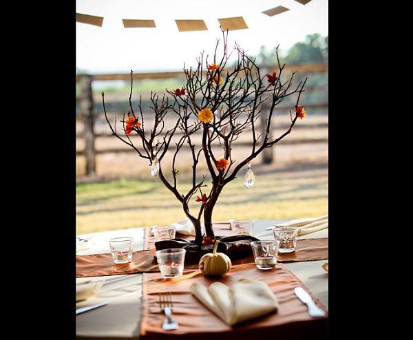 Iced branches wedding centerpiece