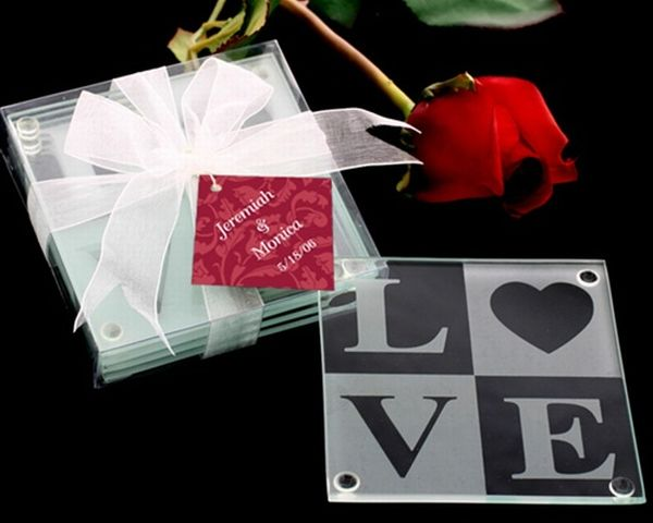 LOVE Glass Coaster Gift Set