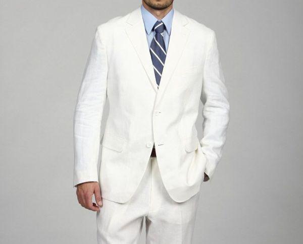 Men's White Linen Suit