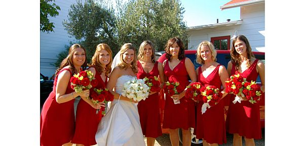 Red dress for bridesmaid