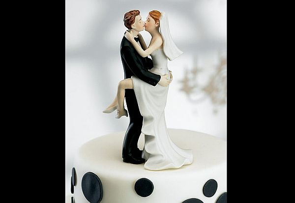 Unique kissing couple wedding cake topper