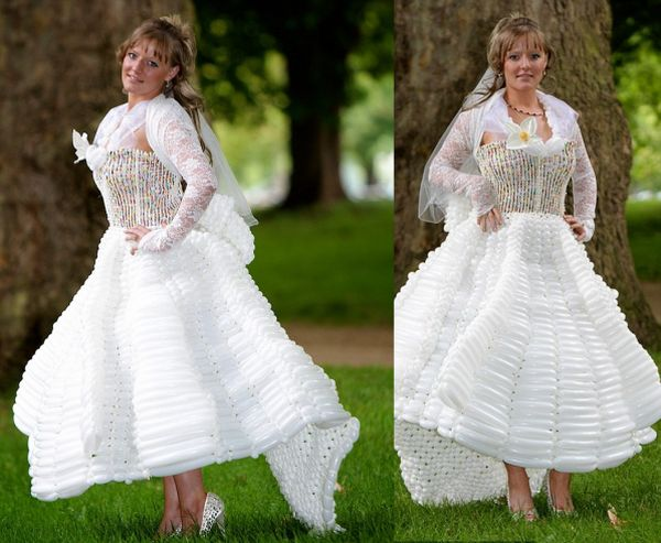 Wedding dresses made from balloons