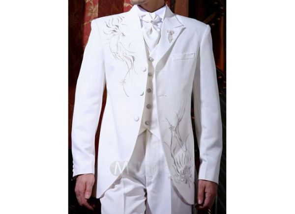 White embroidery worsted groom wedding suit