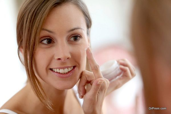 applying beauty cream