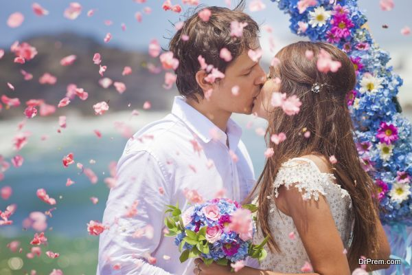 wedding couple just married with bridal bouquet