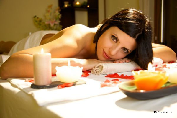 Portrait of smiling beauty in spa