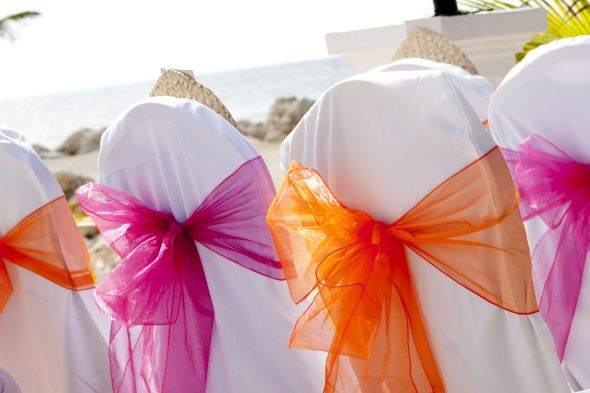Pink Orange Yellow Bridesmaid Dresses