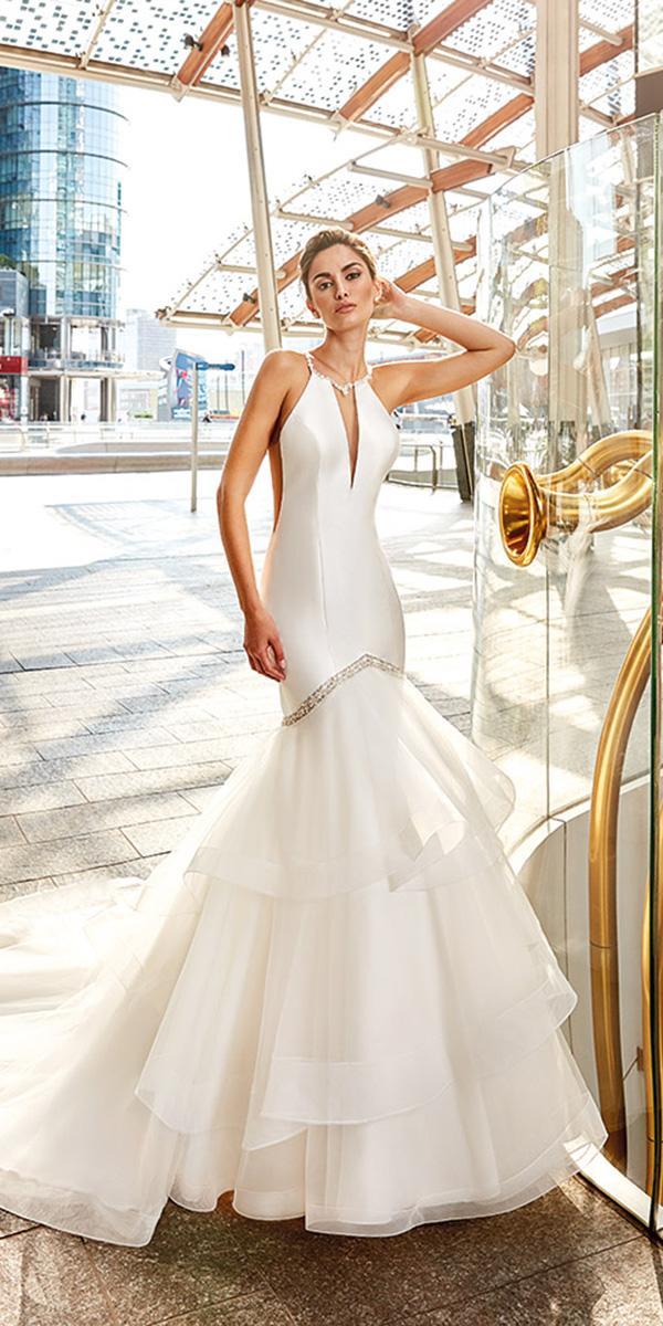 mermaid wedding dresses jewel neckline deep v neckline ruffled skirt eddy k