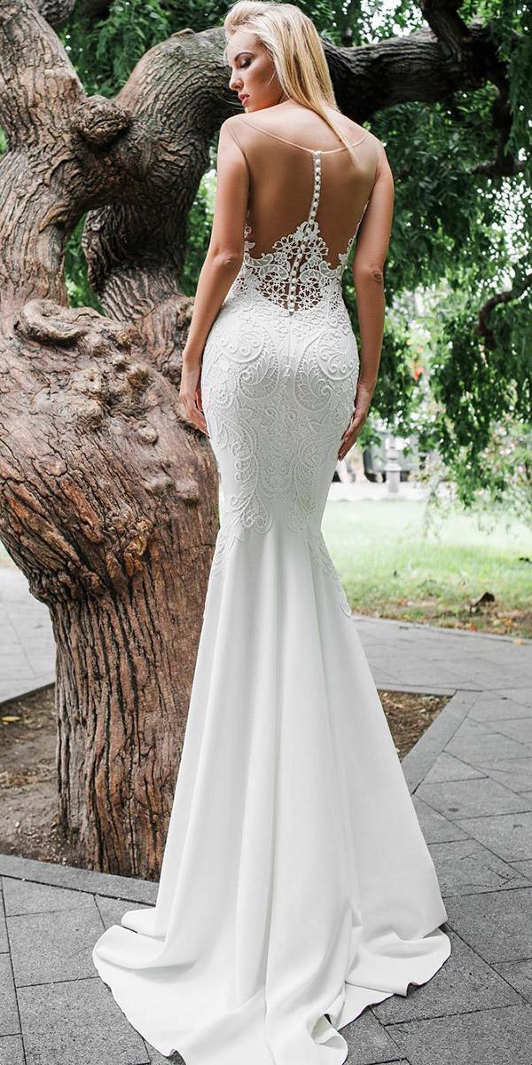 mermaid wedding dresses illusion back vintage buttons sexy oksana mukha