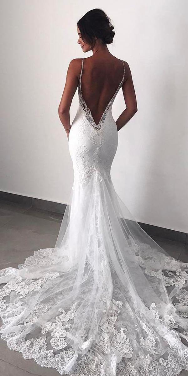 mermaid wedding dresses with spaghetti straps low back enzoani