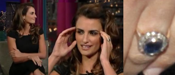 Penelope Cruz engagement/wedding ring? blue sapphire