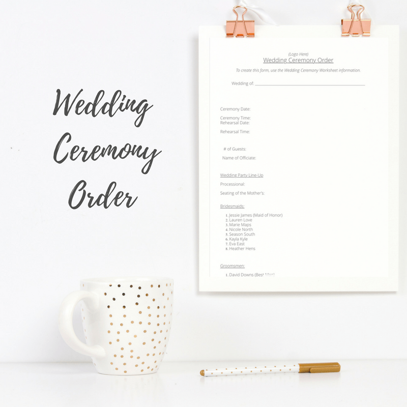 Wedding Ceremony Order.Wedding Ceremony Worksheet Bundle